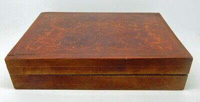 Antique / Vintage Walnut Marquetry Double Deck Playing Card Box & Cards