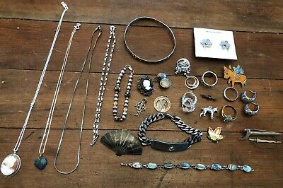 Lot 25 Pieces Vintage Antique Modern Sterling Silver Jewelry Rings Earrings etc