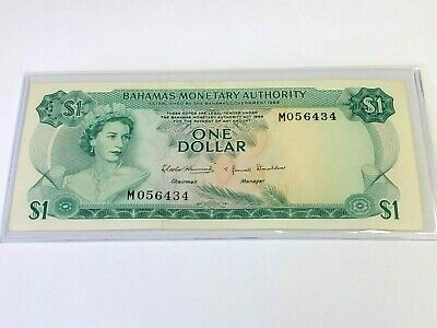1968 BAHAMAS $1 One Dollar, Colorful Coral Reef, QEII, vintage paper money
