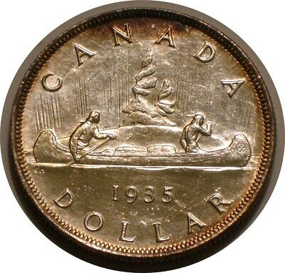 1935 Silver Dollar of Canada intense Full LUSTER Uncirculated Details Cleaned