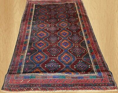 Authentic Hand Knotted Afghan Balouch Wool Area Rug 4 x 3 Ft