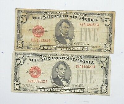 Tough Lot of 2 1928-C & E $5.00 Early Red Seal United States US Note *751