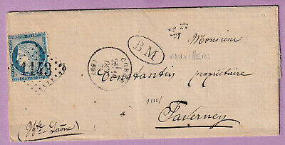 N°60 Gc 1143 Corre Haute Saone Cad Type 16 Bm Vauvillers Faverney Lettre Cover