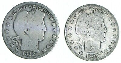 1892-1915 Lot 2 1912 1909-S Barber 90% Half Dollars - Coin Collection *743
