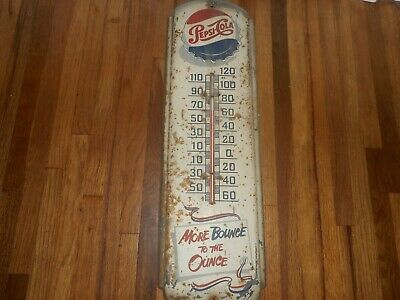 Vintage 1950s MORE BOUNCE TO THE OUNCE PEPSI COLA SODA Advertising Thermometer