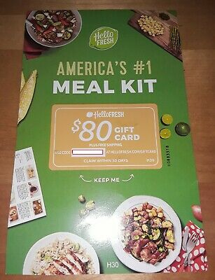 HELLO FRESH Meal Kit Food Gift Card Worth $80 Great Deal