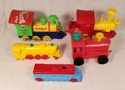 Plastic Vintage Train Toys. Various Makers. Auburn Rubber, Disney.