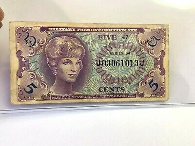 Series 641 US 5C MPC - Five Cents Military Payment Certificate