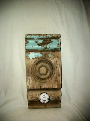 Antique Architectural Salvage Bullseye Corbel Chippy Aqua Upcycled Hook