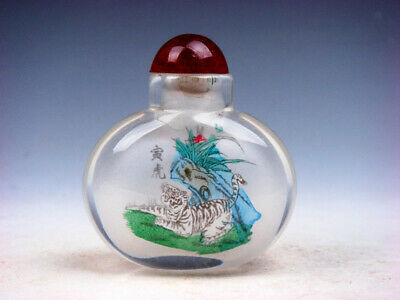 Peking Glass Inside *Zodiac Tiger* Reverse Hand Painted Snuff Bottle #04122003