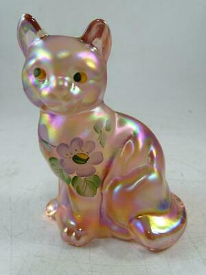 Vtg Fenton Pink Art Glass Cat Kitten Hand Painted Statue Signed Figurine Statue