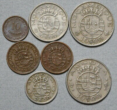 ANGOLA & MOZAMBIQUE 1948-1974 - Lot of 7 Portuguese Colonial Africa Coins, NR!