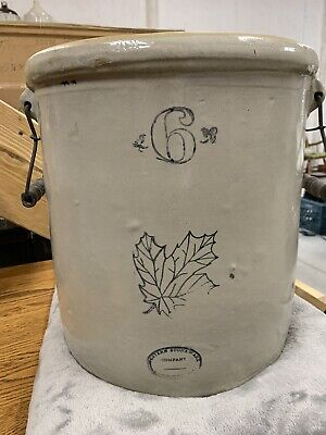 RARE - Western #6 Crock With Handles - Stoneware - Maple Leaf - No Cracks/Chips!