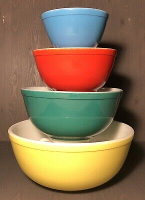 Vintage Pyrex Primary Colors Nesting Mixing Bowl Set | 401 402 403 404 | GREAT