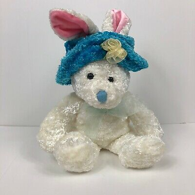 """DanDee Collectors12"""" White Easter Bunny w/Sunday Spring Hat plush stuffed animal"""