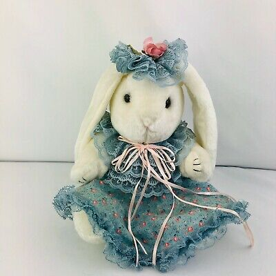 """Adorable Easter Spring 12"""" White Bunny with blue lacy Sunday hat & dress"""