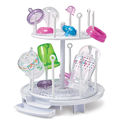 Spin Stack Drying Rack Dry Baby Bottles Pacifiers Teethers Two Adjustable WHITE