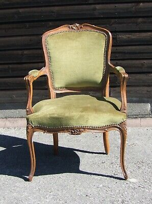 Louis Xv Style French Carved Walnut And Velvet Armchair - (Conac30)