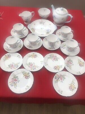 Shelley Fine Bone China Tea Set, 6 Cups,saucers, Side Plates, 1x Serving Plate,