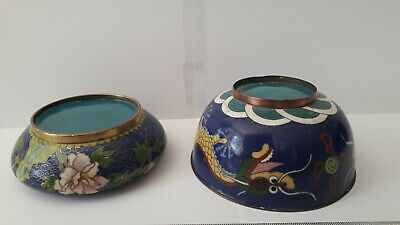 Antique Chinese Cloisonne' Enamel and brass Dragon Bowls