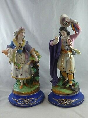 Pair of Large Antique 19th Century French Painted Bisque Figures