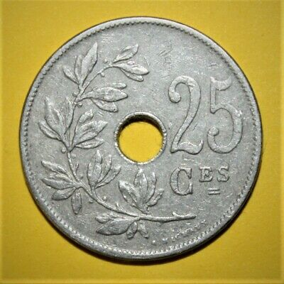 Belgium 25 Centimes 1909 Very Fine Coin *** Scarcer Date