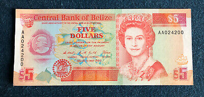 BELIZE 5 DOLLARS (1990) BANKNOTE P53a AA024200