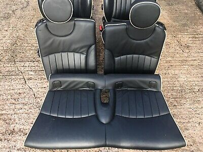 Genuine MINI R57 Heated Black & White Piping Lounge Leather Interior Seats