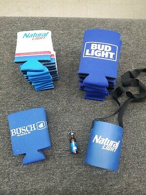 Natural Light, Bud Light and Busch Beer Koozies plus one Keychain Bottle Opener
