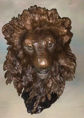 Bronze Lion Bust Guardian Of The Plains Mark Hopkins Signed & Numbered 518/750