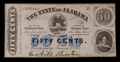 January 1st, 1863 State of Alabama Fifty Cent 50c Confederate Note Circulated