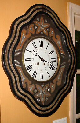 FANCY ANTIQUE 19thC FRENCH EUROPEAN MOTHER OF PEARL INLAYED WALL CLOCK N/R