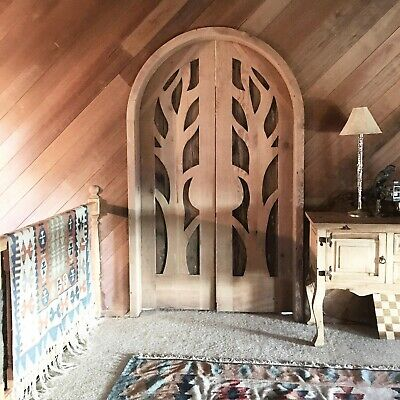 Rustic reclaimed lumber arched double door solid wood hand carved pre hung