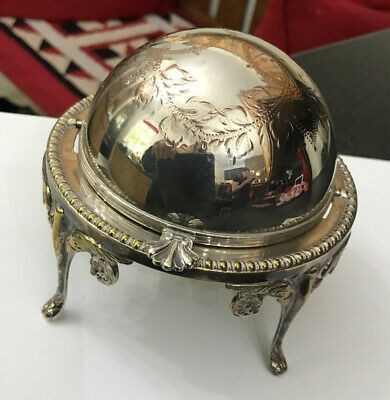 Vintage Silver Plated Butter Caviar Serving Dish Revolving Dome Glass Insert