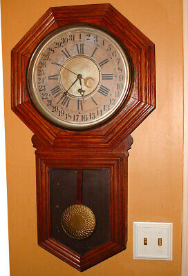 "Antique 33"" Carved Oak Sessions Calendar Regulator Wall Clock N/R"