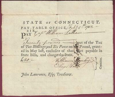 Connecticut Pay Table Document, Rev. War Officer, 1782