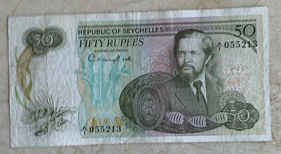 Seychelles 50 Rupees Note   1977. Circ.
