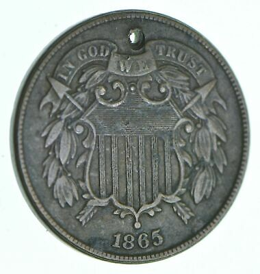 1865 Two-Cent Piece - Holed Coin Collection *044