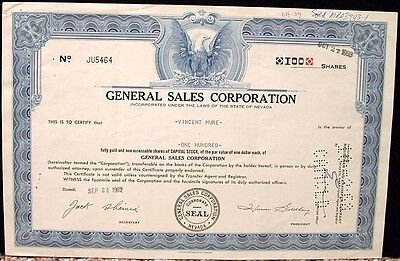 General Sales Corporation Certificate 100 Shares