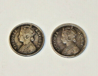 Lot Of (2) British India 1/4 Rupee Silver Coins 1862 & 1884