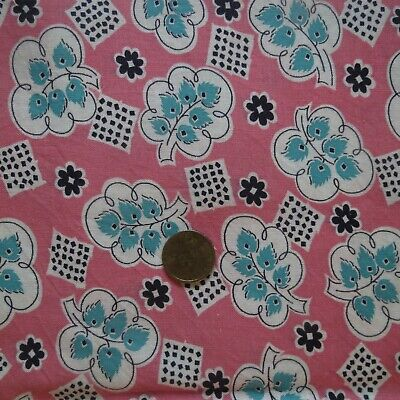 """Feed Sack FULL w/String Pink w Outline Leaves & Green Leaves 22"""" x 36"""" Vintage"""