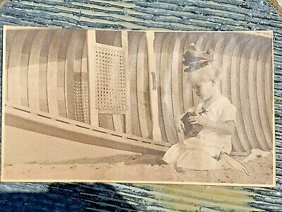 1920 Large Printed Photograph Little Girl Big Bow L A Beach Camera Boat Ca.