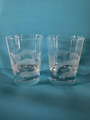 2  Baileys Irish Cream Etched Frosted Double Swirl Bubble Rocks Cocktail Glasses