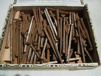ANTIQUE Vintage Barn Spikes 6 1/2 lbs square Nails old rusty patina iron hangers