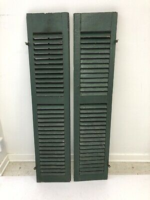 Vintage WOOD SHUTTERS PAIR green farmhouse wooden exterior architectural salvage