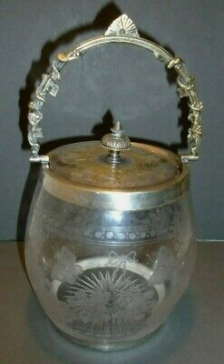 Biscuit Barrel, Cut Glass Butterflies, Flowers, Silver Plated Mounts, Vintage