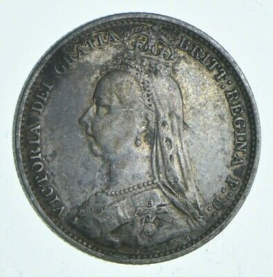 SILVER Roughly Size of Dime 1890 Great Britain 6 Pence World Silver Coin *602