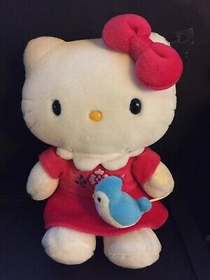 """Hello Kitty With Blue Bird On A String Stuffed Lovely Plush Doll 11"""" Preowned!"""