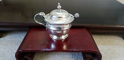 ENGLISH STERLING MUSTARD POT with SPOON SHEFFIELD c.1932-1933 NO RESERVE