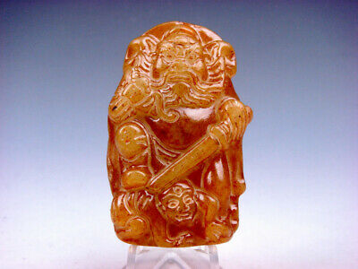Old Nephrite Jade Carved Pendant Sculpture Ancient Immortal ZHONG-KUI #12051901